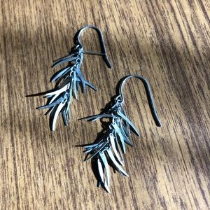 Silver Tone Feathered Earrings